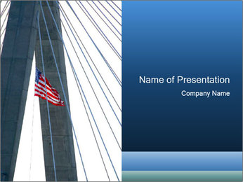 Bridge And American Flag PowerPoint Template - Slide 1