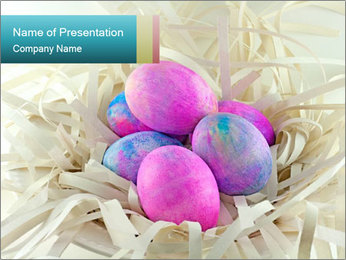 Pink And Blue Easter Eggs PowerPoint Template - Slide 1