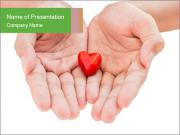 Small Red Heart In Palms PowerPoint Template