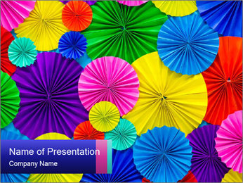 Abstract of colorful paper filigree strips folded in waves PowerPoint Template - Slide 1