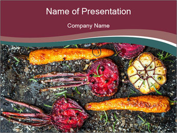 Roasted carrots and beetroot on a baking tray PowerPoint Template