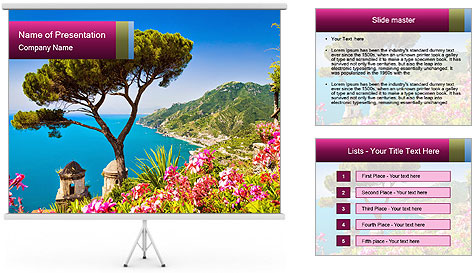 Scenic picture view of famous Amalfi Coast, Italy PowerPoint Template