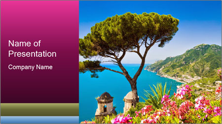 Scenic picture view of famous Amalfi Coast, Italy PowerPoint Template - Slide 1