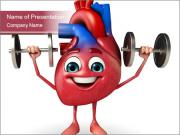 Cartoon Character of heart with dumbbells PowerPoint Templates