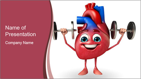 Cartoon Character of heart with dumbbells PowerPoint Template