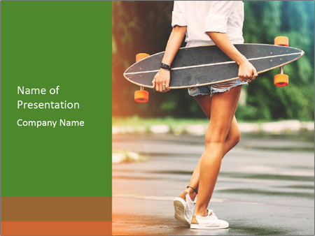 Fashion lifestyle, beautiful young woman with longboard PowerPoint Templates