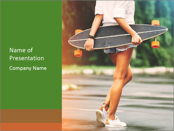 Fashion lifestyle, beautiful young woman with longboard PowerPoint Template - Slide 1