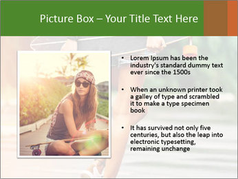 Fashion lifestyle, beautiful young woman with longboard PowerPoint Templates - Slide 13