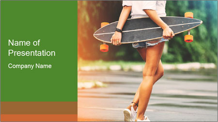 Fashion lifestyle, beautiful young woman with longboard PowerPoint Template