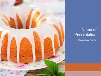 Summer Bundt Cake Topped with Sugar Glaze PowerPoint Templates - Slide 1