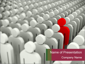 White Crowd And Red Man PowerPoint Template