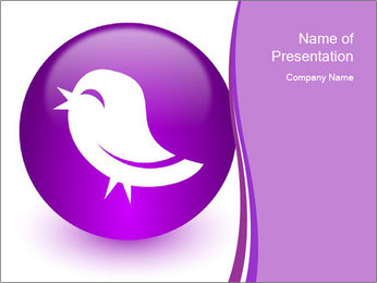 Lilac Twitter Icon PowerPoint Templates - Slide 1