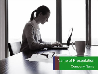 Busy Woman In Empty Conference Room PowerPoint Template - Slide 1