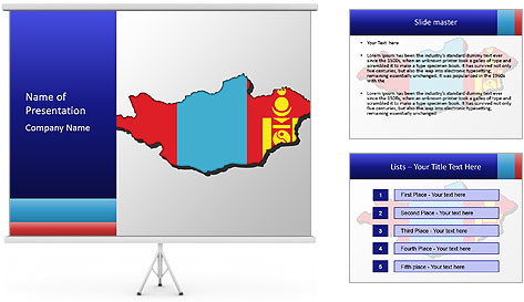 Mongolia Flag PowerPoint Template
