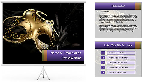 Golden Venice Mask PowerPoint Template