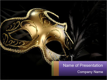 Golden Venice Mask PowerPoint Template - Slide 1