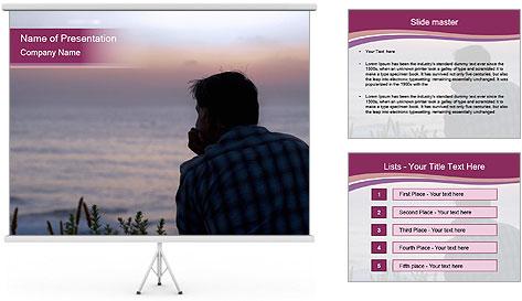 Senior Man Gazing Sunset PowerPoint Template