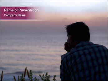 Senior Man Gazing Sunset PowerPoint Templates - Slide 1