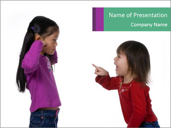 Two Girls Yelling PowerPoint Template - Slide 1