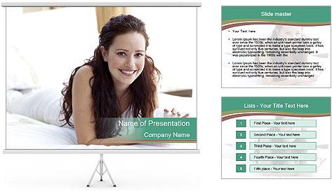 Beautiful Brunette Lady PowerPoint Template