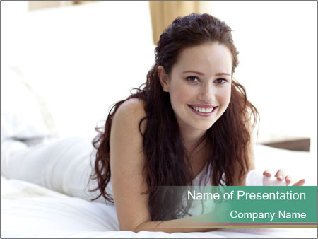 Beautiful Brunette Lady PowerPoint Template