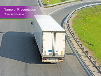 Truck On Road PowerPoint Template - Slide 1