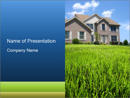 House And Green Lawn PowerPoint Templates