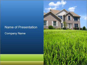 House And Green Lawn PowerPoint Template - Slide 1