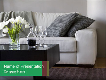 White Sofa And Coffee Table PowerPoint Template