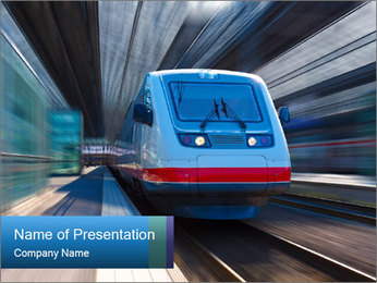 Modern high speed train PowerPoint Template