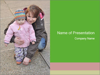 Mother and daughter playing outdoors PowerPoint Template - Slide 1