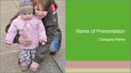 Mother and daughter playing outdoors PowerPoint Template