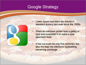 Two pepperoni pizzas in a line on a black stove PowerPoint Template - Slide 10