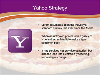 Two pepperoni pizzas in a line on a black stove PowerPoint Template - Slide 11
