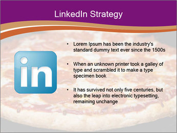 Two pepperoni pizzas in a line on a black stove PowerPoint Template - Slide 12