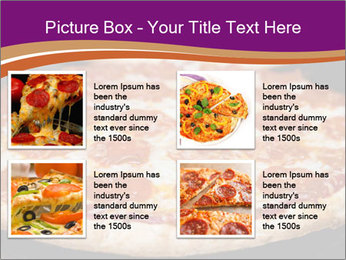 Two pepperoni pizzas in a line on a black stove PowerPoint Template - Slide 14
