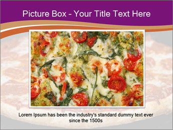 Two pepperoni pizzas in a line on a black stove PowerPoint Template - Slide 15