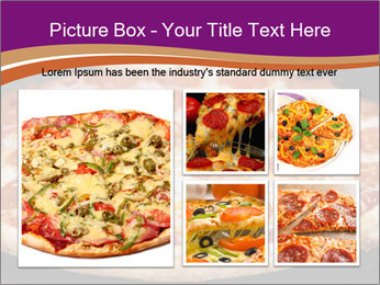 Two pepperoni pizzas in a line on a black stove PowerPoint Template - Slide 19