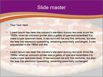 Two pepperoni pizzas in a line on a black stove PowerPoint Template - Slide 2
