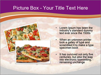 Two pepperoni pizzas in a line on a black stove PowerPoint Template - Slide 20