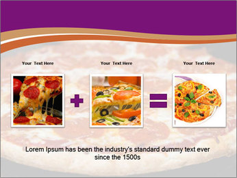 Two pepperoni pizzas in a line on a black stove PowerPoint Template - Slide 22
