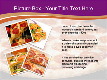 Two pepperoni pizzas in a line on a black stove PowerPoint Template - Slide 23