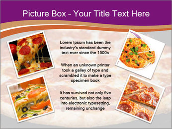 Two pepperoni pizzas in a line on a black stove PowerPoint Template - Slide 24