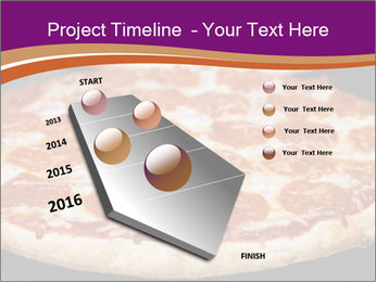 Two pepperoni pizzas in a line on a black stove PowerPoint Template - Slide 26