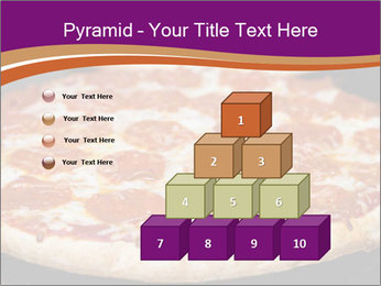 Two pepperoni pizzas in a line on a black stove PowerPoint Template - Slide 31