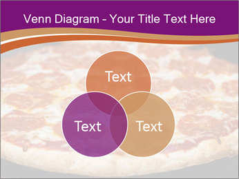 Two pepperoni pizzas in a line on a black stove PowerPoint Template - Slide 33