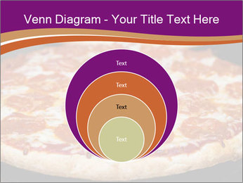 Two pepperoni pizzas in a line on a black stove PowerPoint Template - Slide 34