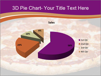 Two pepperoni pizzas in a line on a black stove PowerPoint Template - Slide 35