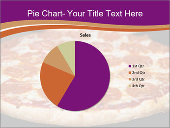 Two pepperoni pizzas in a line on a black stove PowerPoint Template - Slide 36