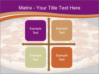 Two pepperoni pizzas in a line on a black stove PowerPoint Template - Slide 37